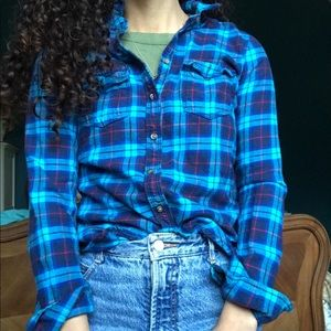teal turquoise and red flannel